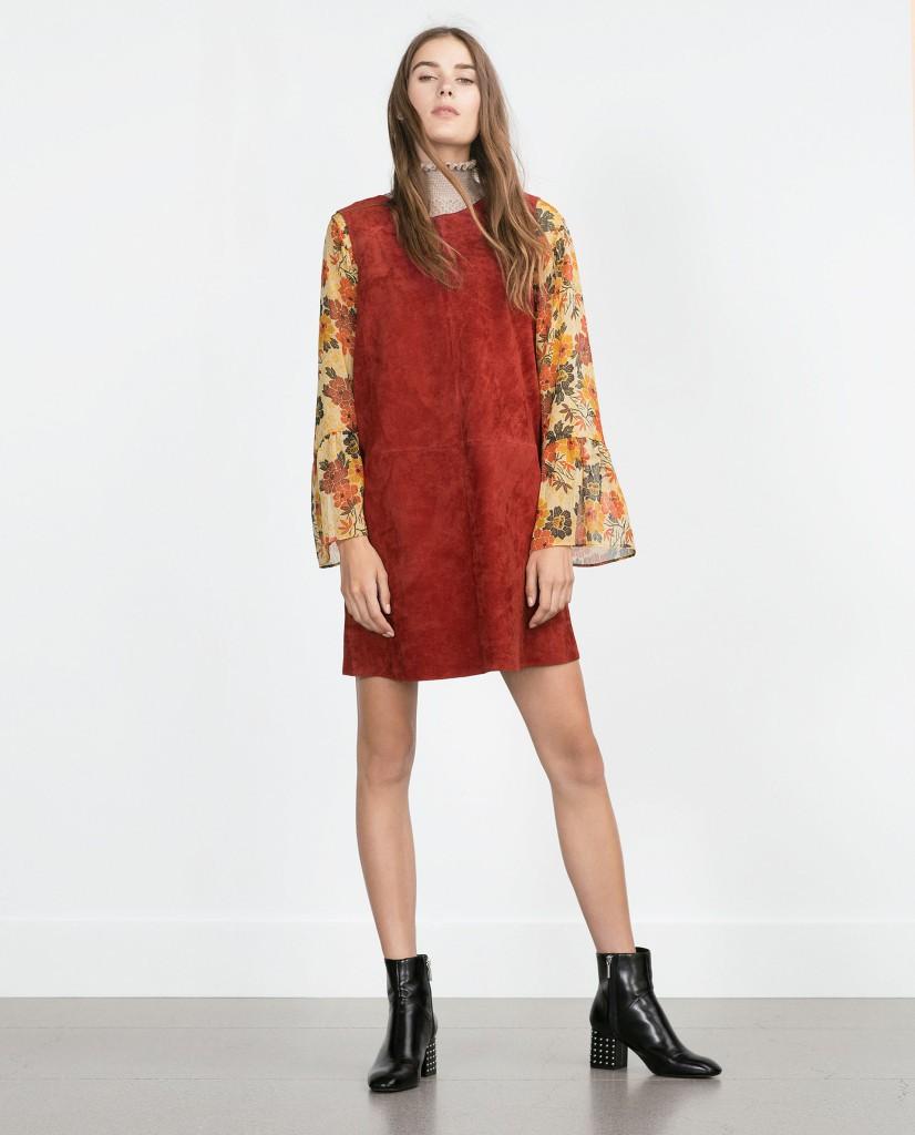 Коричневое замшевое платье в стиле 70-х