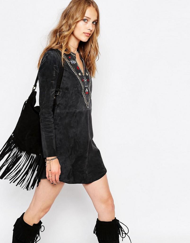 Черное замшевое платье в стиле 70-х