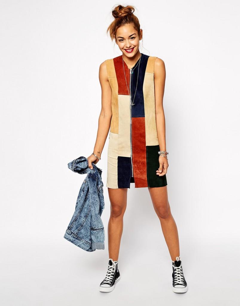 Разноцветное замшевое платье в стиле 70-х