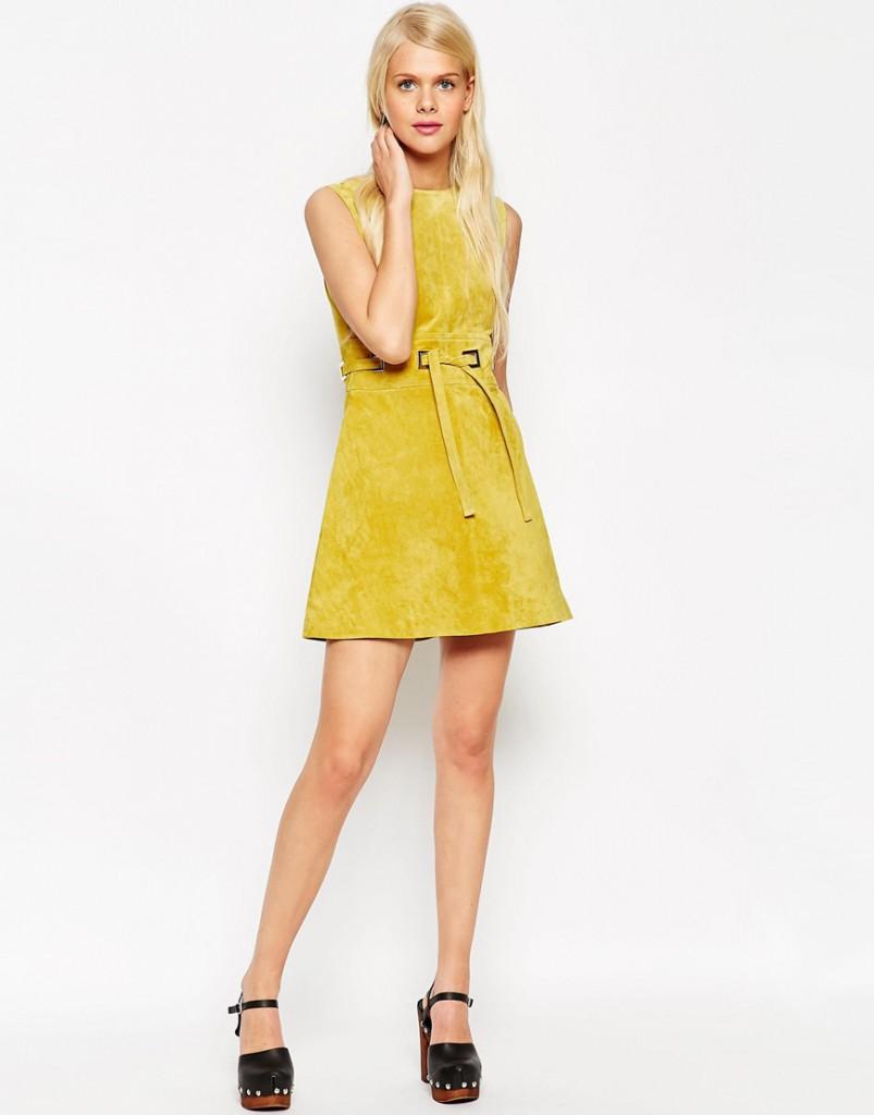 Желтое замшевое платье в стиле 70-х