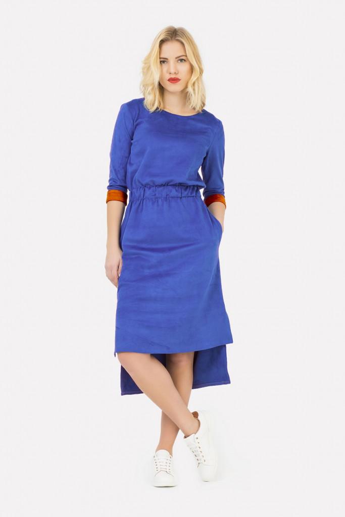 Синее замшевое платье
