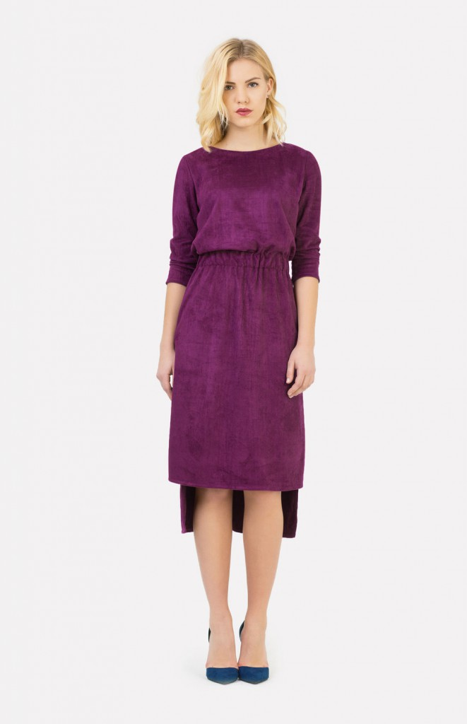 Фиолетовое замшевое платье