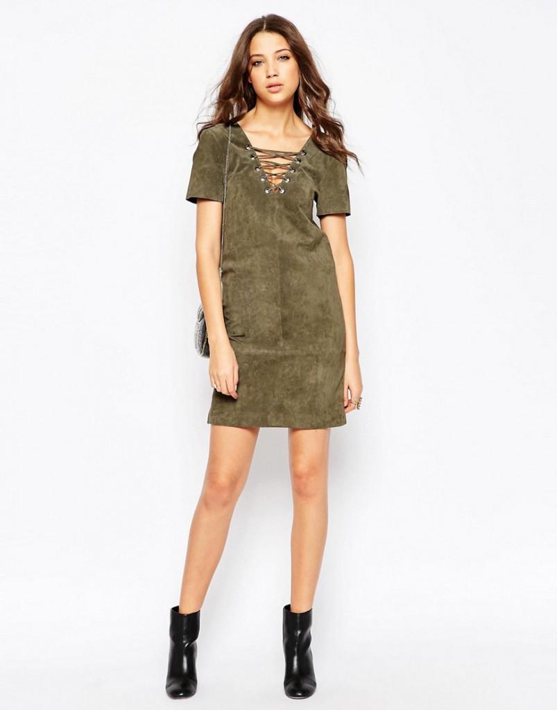 Коричнево-зеленое замшевое платье футляр