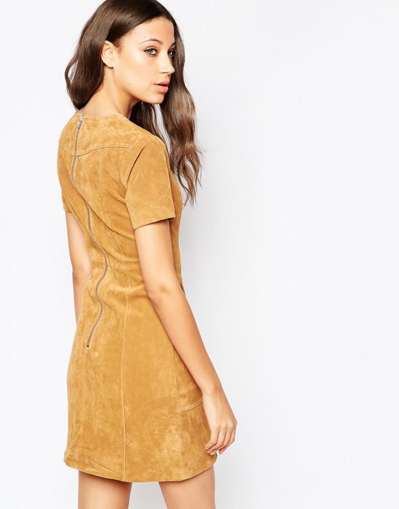 Оранжевое замшевое платье трапеция