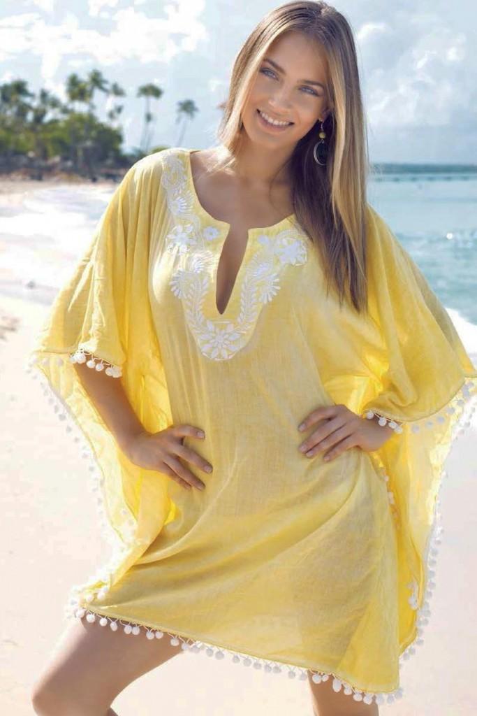 Пляжная желтая туника с вышивкой