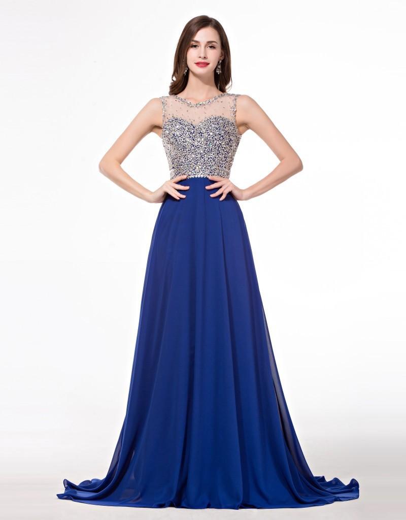 Длинное синее блестящее платье