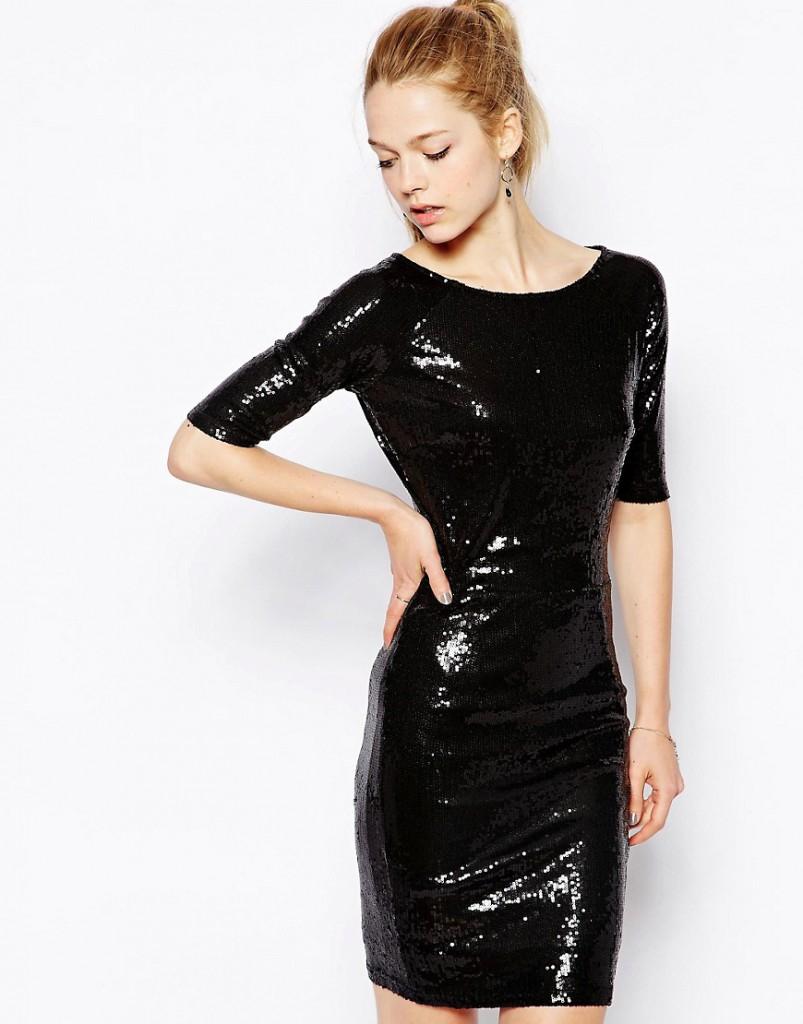 Блестящее черное платье 46