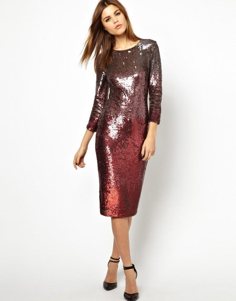 Длинное блестящее платье для торжества