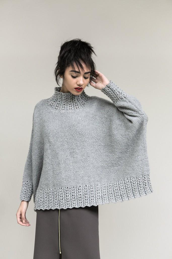 Серый свитер оверсайз