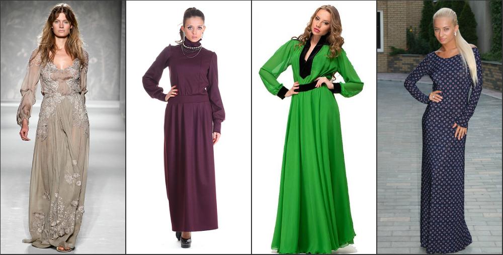 Стильные фасоны длинных платьев
