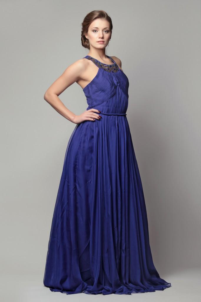 Синее красивое длинное платье