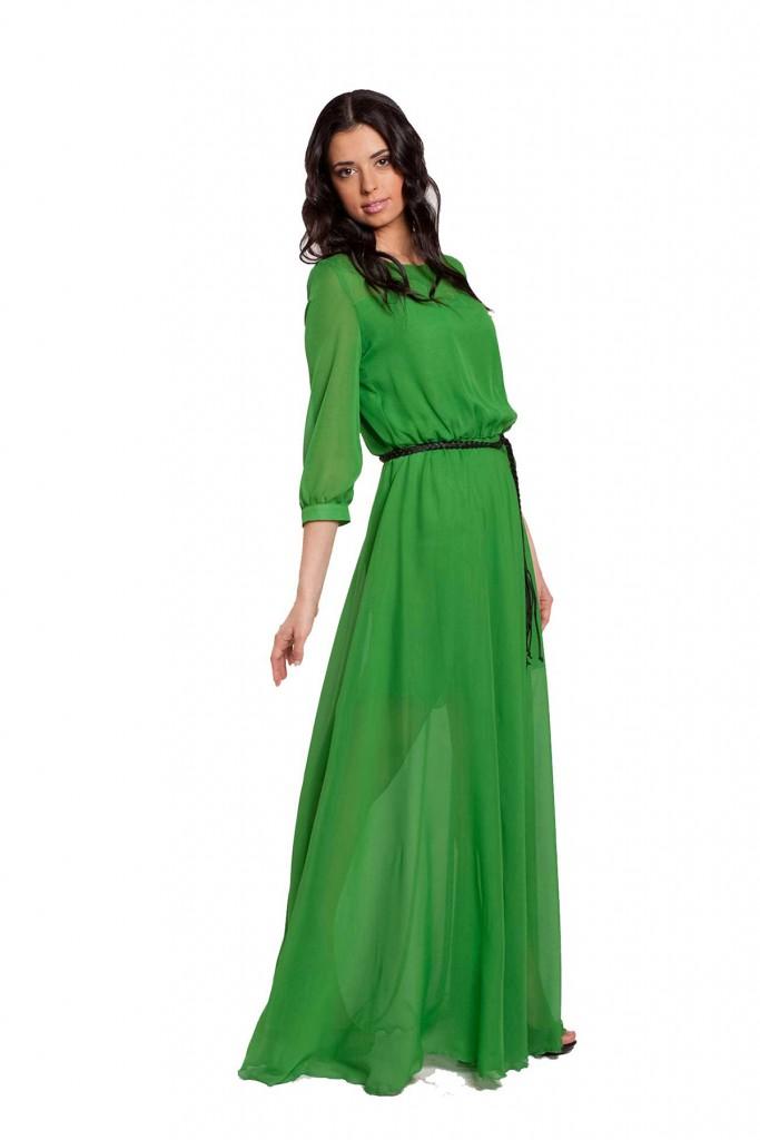 Зеленое длинное платье