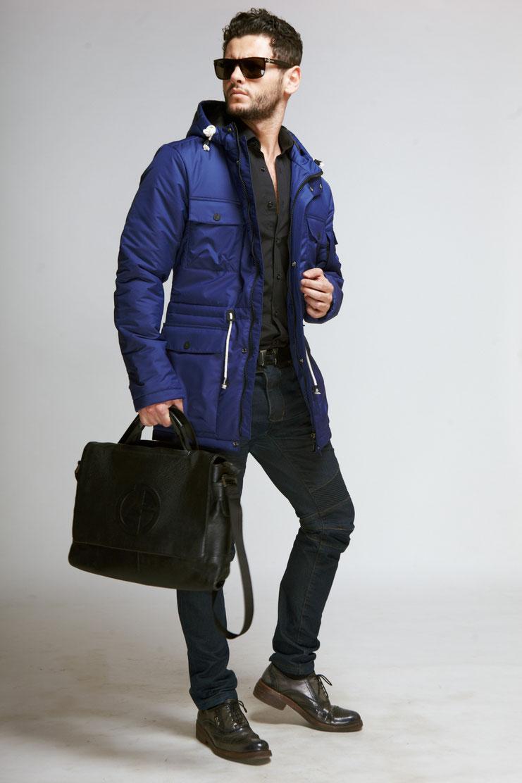 47806bb36f0 ... Модная синяя мужская куртка ...