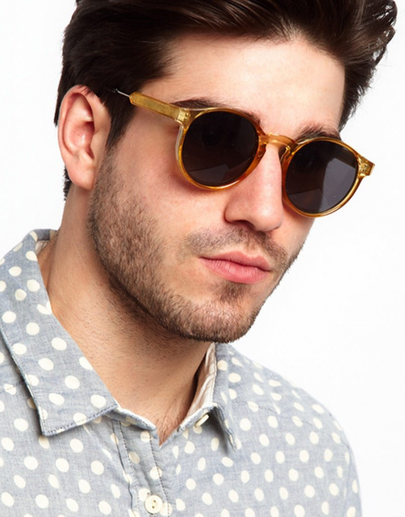 Круглые мужские очки в коричневой оправе