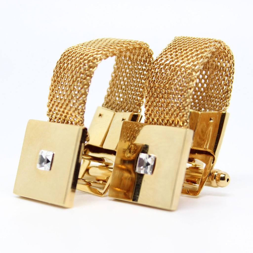 Мужские квадратные золотые запонки