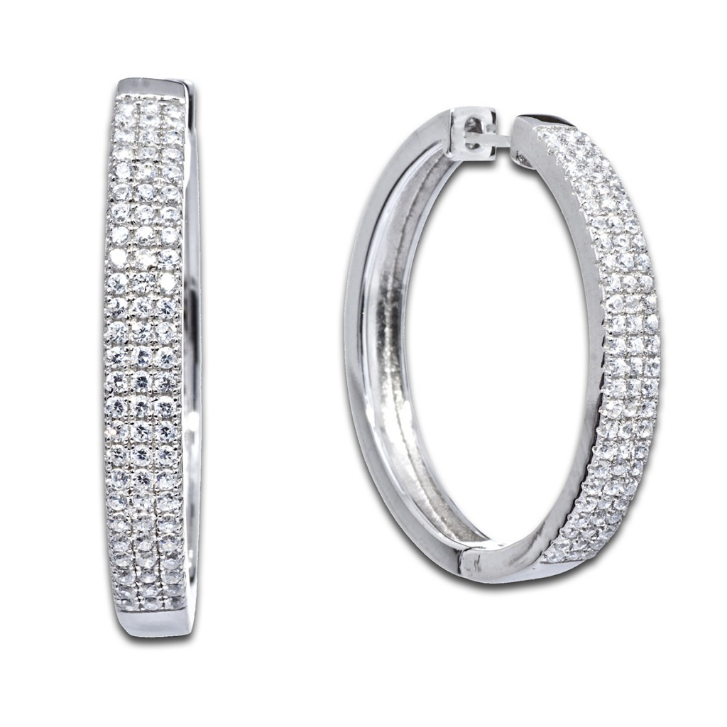 Стильные серьги конго с бриллиантами
