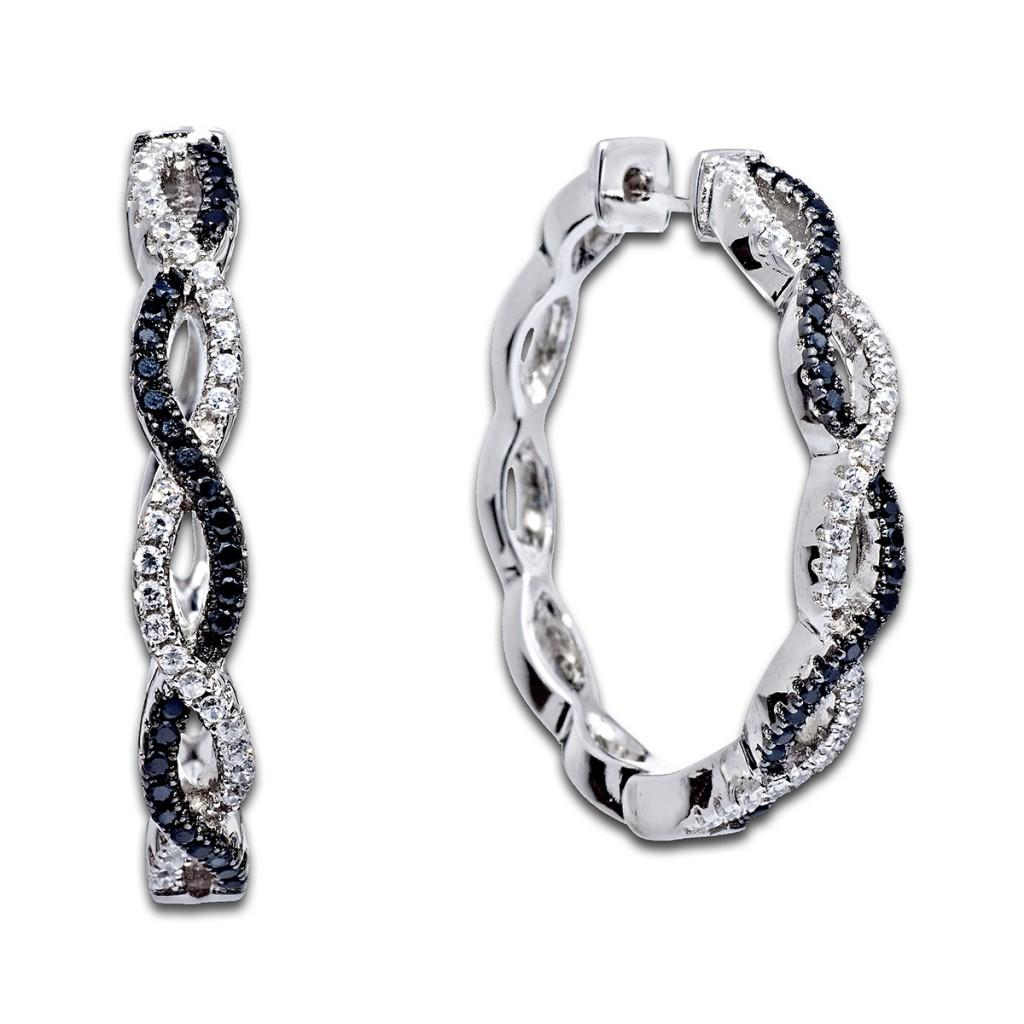 Стильные серьги конго с разными бриллиантами