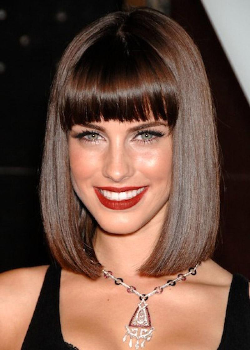 Прически на средние волосы с челкой тонкие