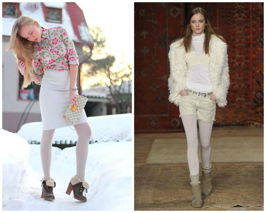 Белые колготки в разных нарядах