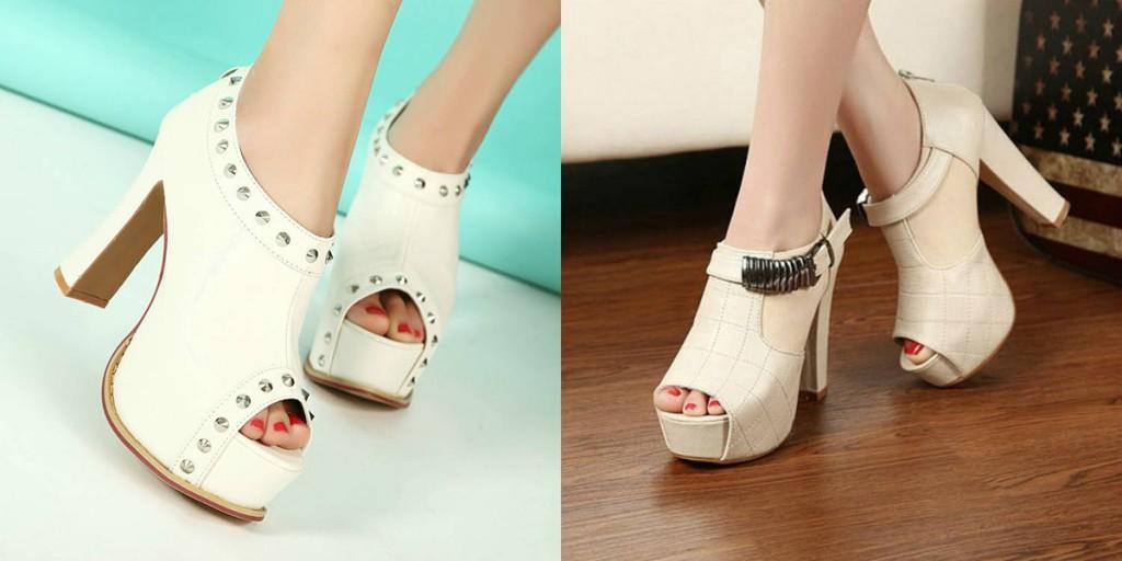 Светлые туфли на толстом каблуке с открытым носом