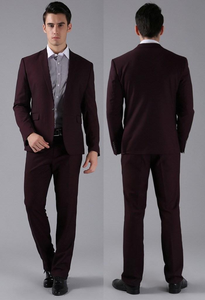 Роскошный бордовый мужской деловой костюм