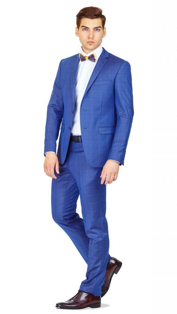 Стильный клетчатый синий мужской деловой костюм