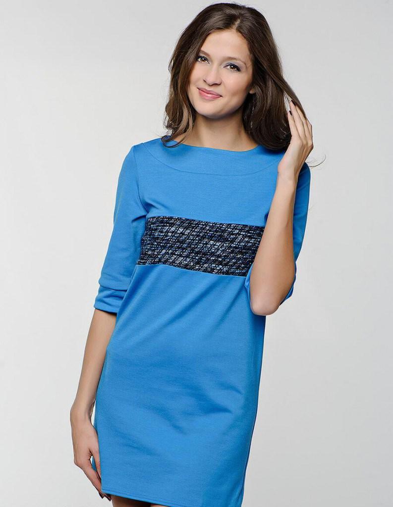 Спортивно-классическое женское синее платье