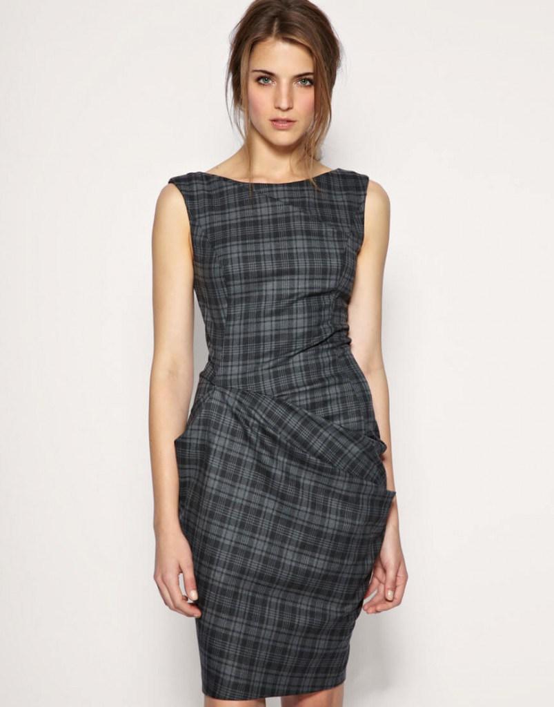 Клетчатое женское классическое платье