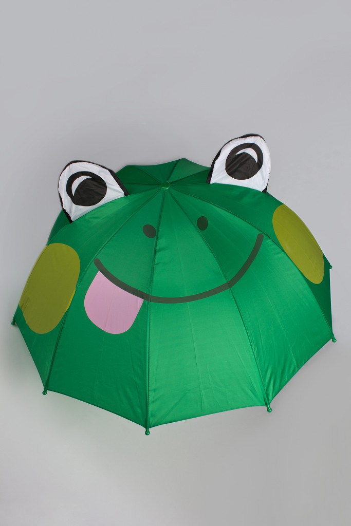 Детский зеленый зонтик лягушонок