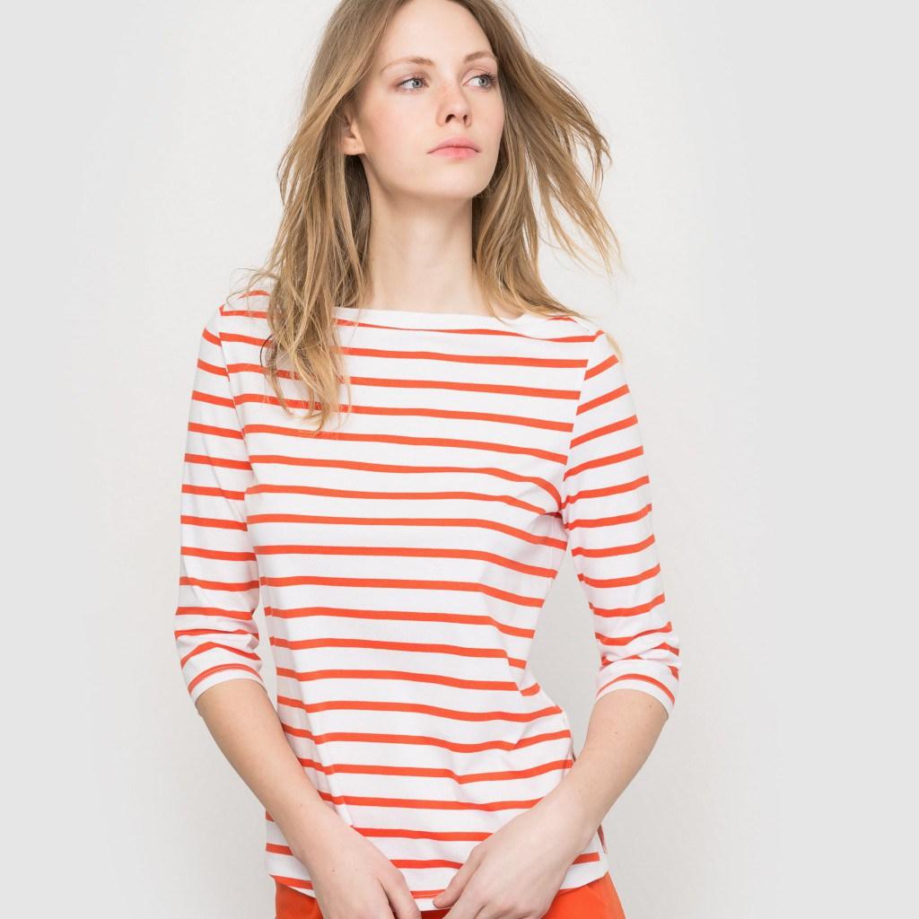 Женская матроска в бело-красную полоску