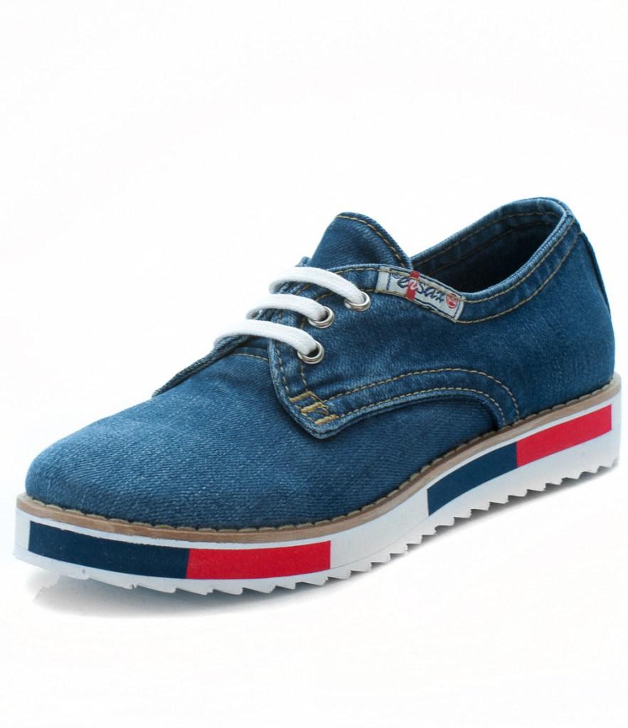 Мужские джинсовые кроссовки с рифленой подошвой