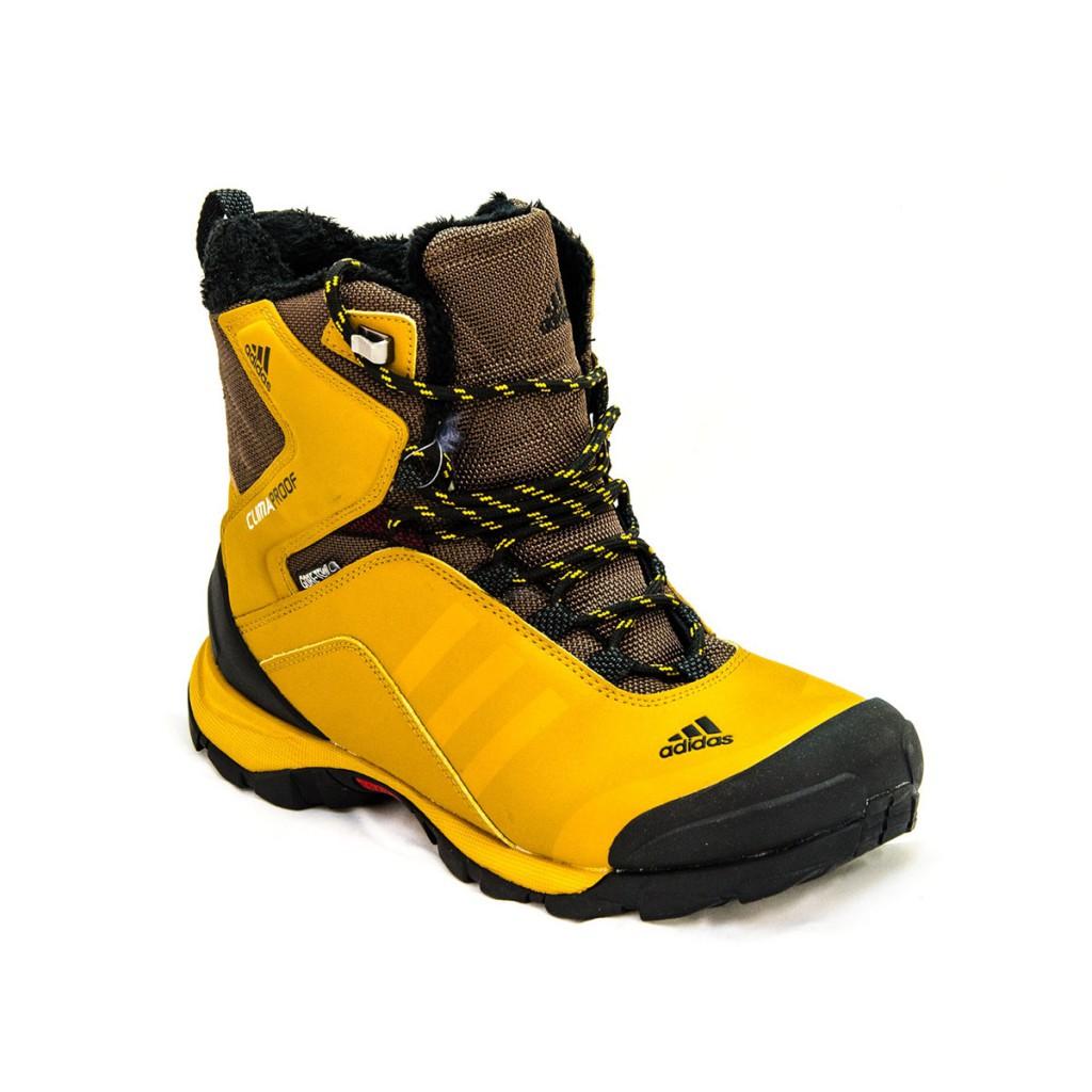 Зимние черно-желтые высокие мужские ботинки