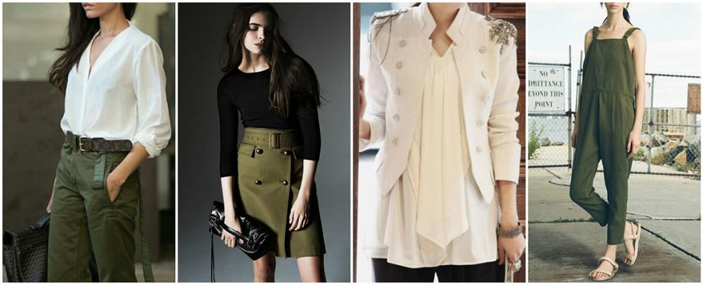 Женские наряды в стиле милитари