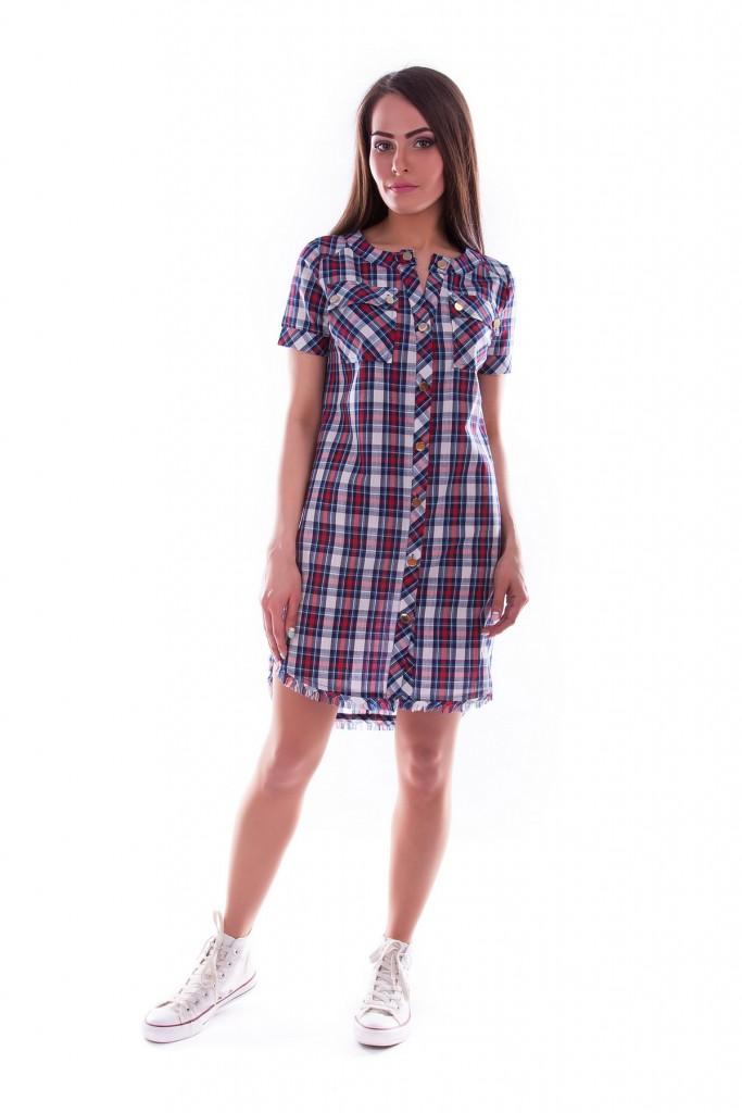 Платье клетчатое с кедами