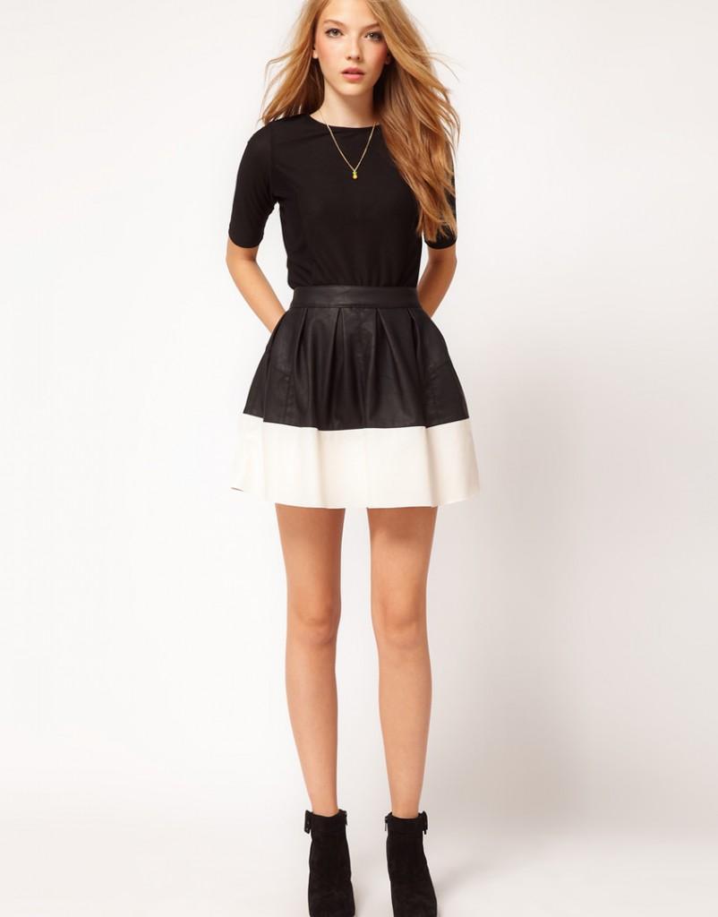 Черно-белая юбка в романтическом стиле