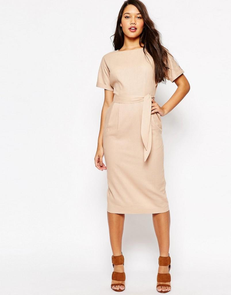 Платье футляр из льна