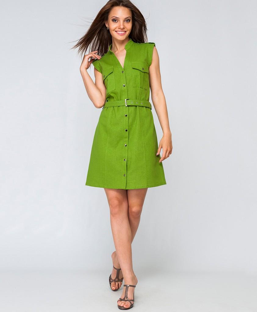 Зеленое платье рубашка из льна