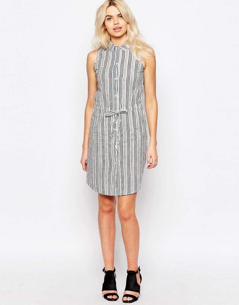 Серое полосатое платье рубашка из льна