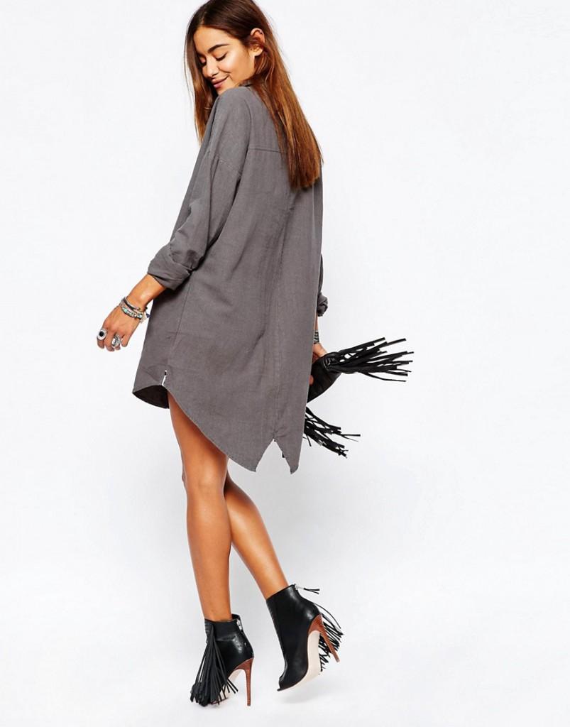 Серое льняное платье рубашка