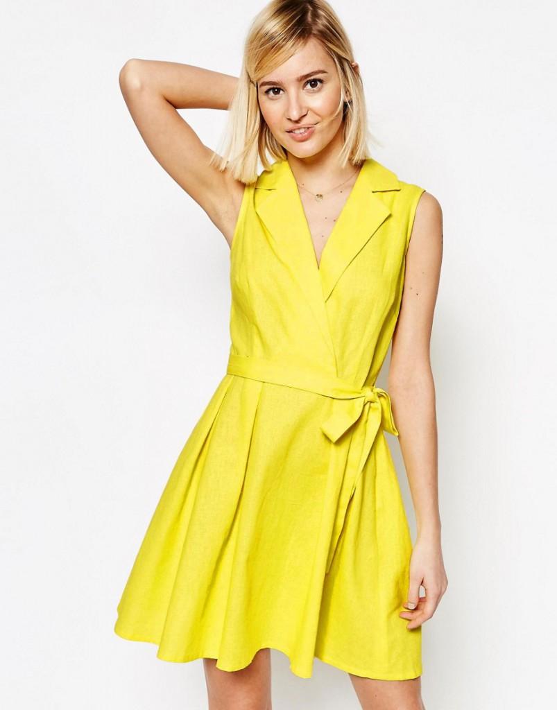 Льняное короткое желтое платье