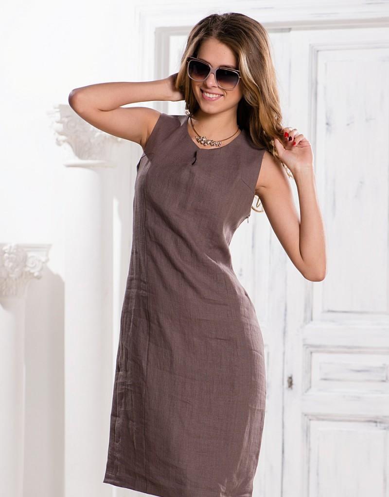 Коричневое платье футляр из льна