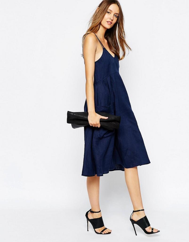 Льняное синее платье