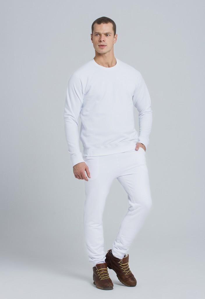 Мужской белый стильный спортивный костюм