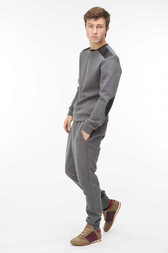 Модный мужской серый спортивный костюм