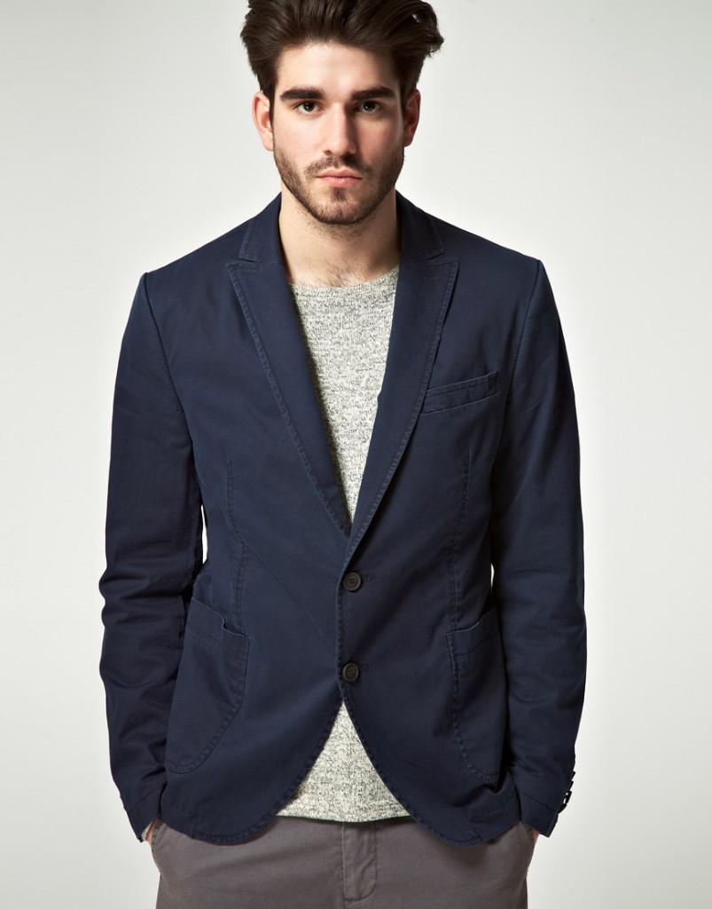 Синий спортивный мужской пиджак из плотной ткани