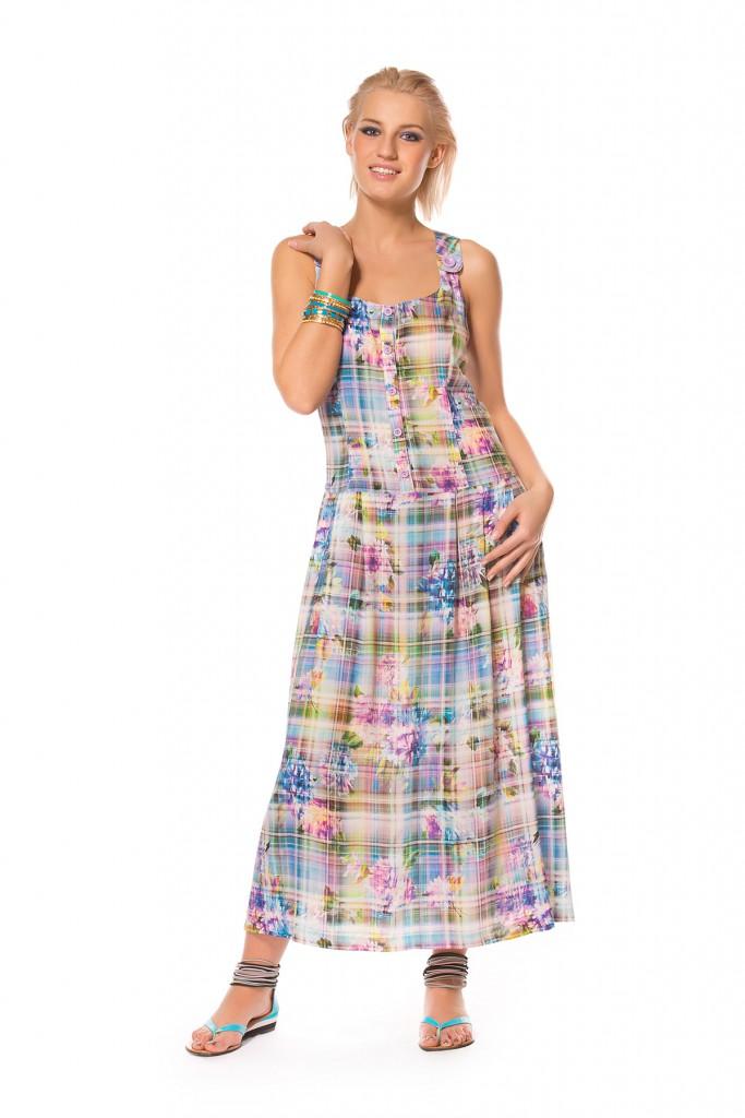 Длинное клетчатое платье в стиле кантри