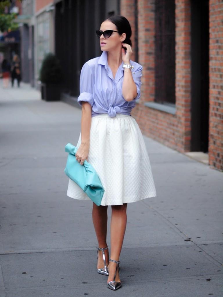 Женский образ с белой юбкой и сиреневой рубашкой в стиле нью лук
