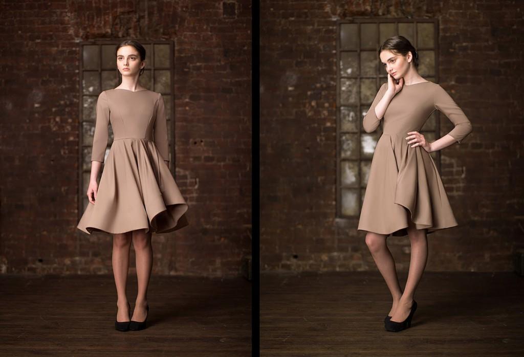 Коричневое платье в стиле нью лук
