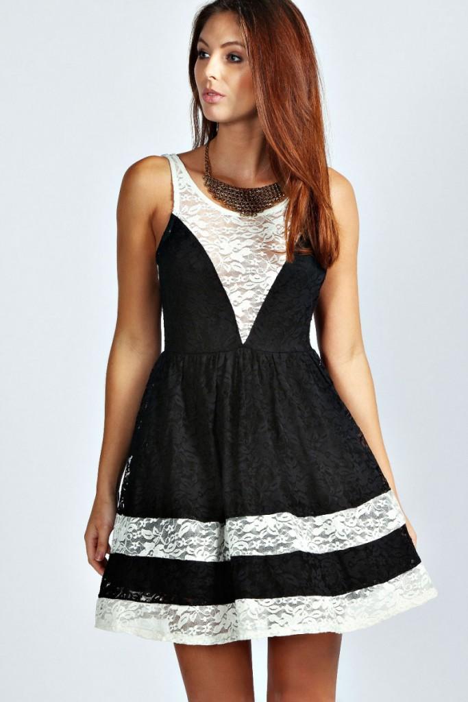 Короткое черно-белое платье с пышной юбкой
