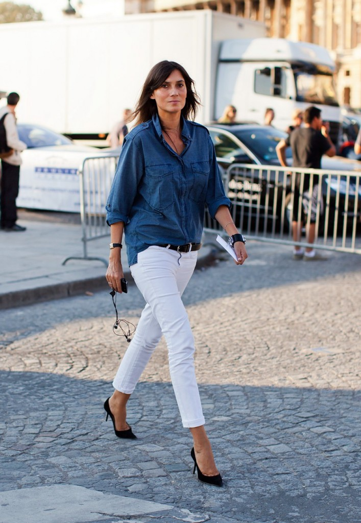Белые брюки с черными лодочками